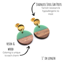 Load image into Gallery viewer, Green Resin & Wood Circle Gold Dangle Earrings