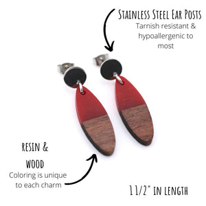 Red Resin & Wood Oval Silver Dangle Earrings