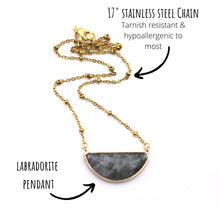Load image into Gallery viewer, Labradorite Crescent Necklace