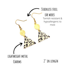 Load image into Gallery viewer, Leopard Triangle Dangle Earrings