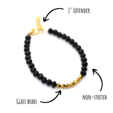 Load image into Gallery viewer, Black & Gold Beaded Bracelet