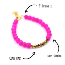 Load image into Gallery viewer, Hot Pink & Gold Beaded Bracelet