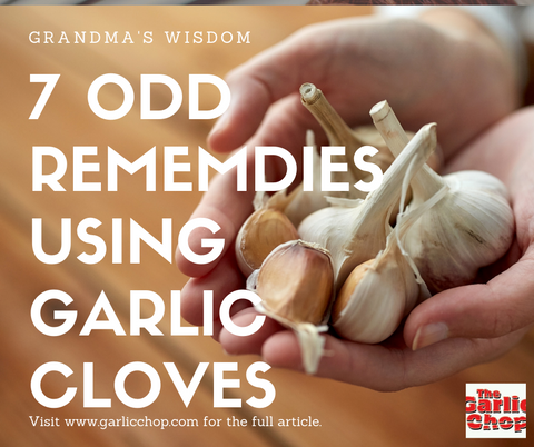 Hand Filled With Garlic Cloves With Text That Reads 7 Odd Remedies Using Garlic Cloves