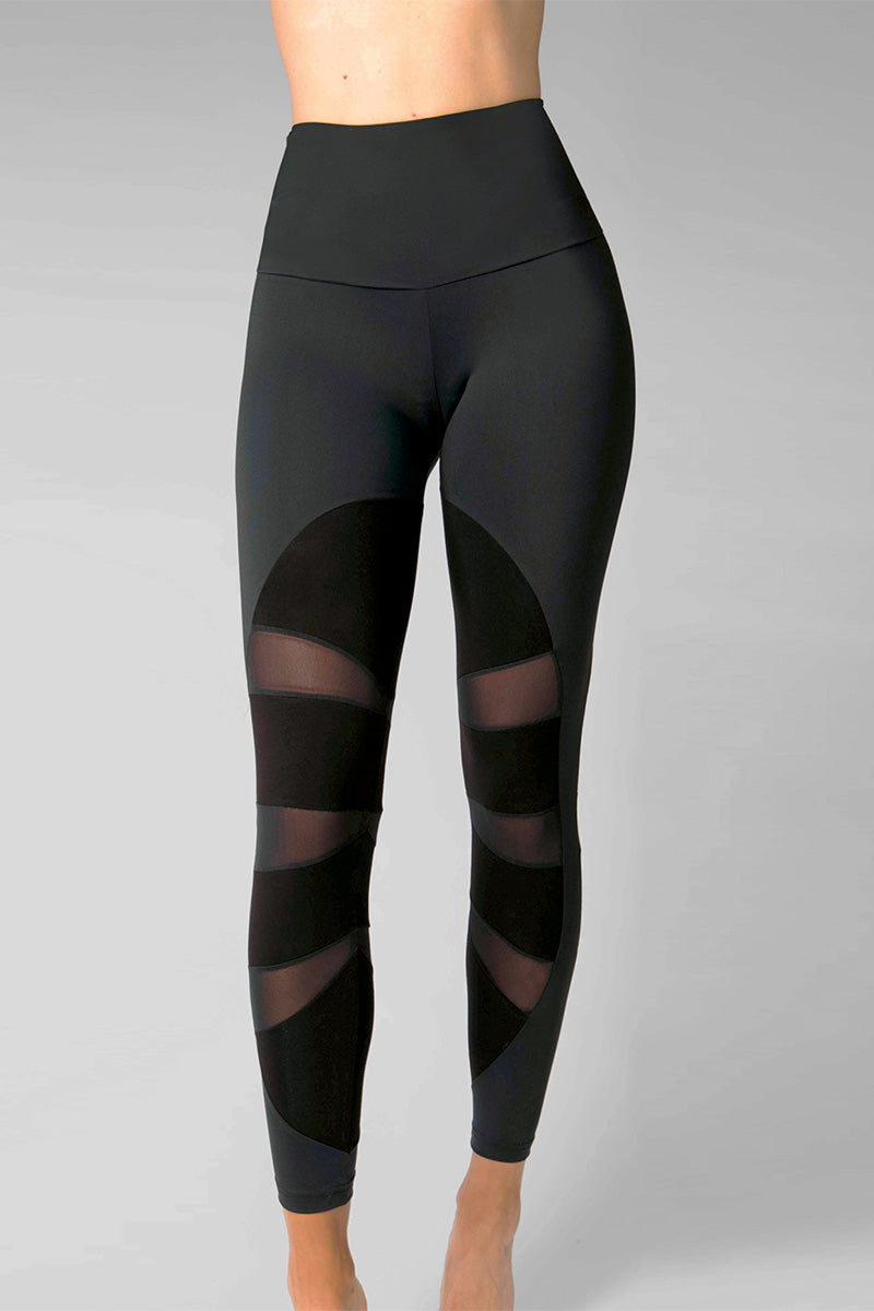 Medium Compression Leggings with Control Mesh Insets Black