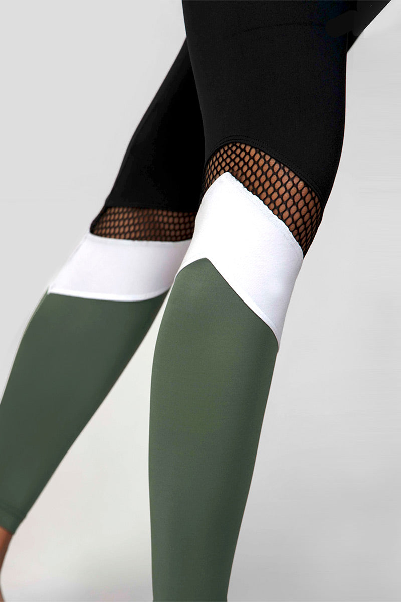 Medium Compression Leggings with Khaki Panel Black-Khaki