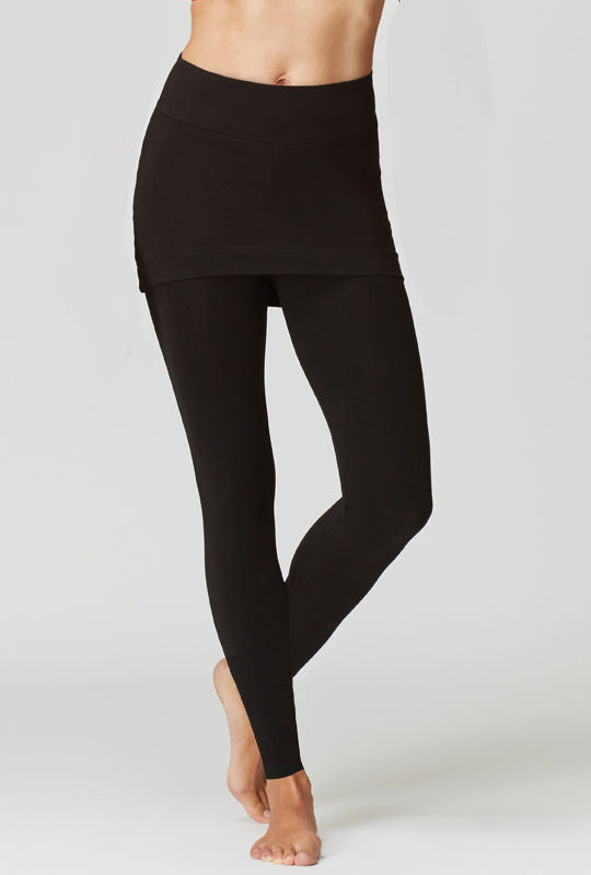 Medium Compression Leggings with Straight Skirt Black