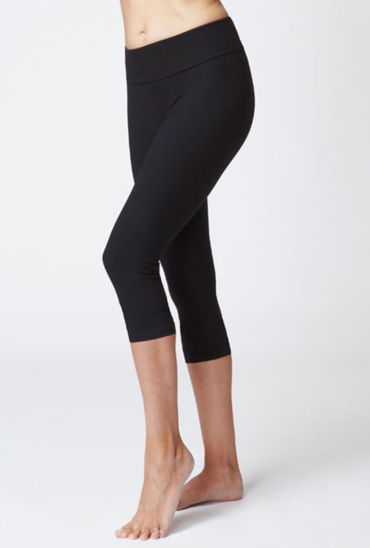 Extra Strong Compression Cropped Leggings with Figure Firming and Fold Down Waist Black