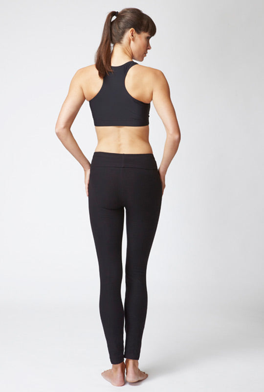 Medium Compression Leggings with Roll Down Waistband Black