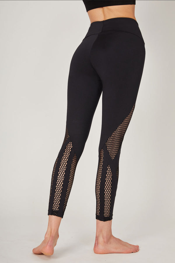 Medium Compression Leggings with Coolmesh Multi Insets Black