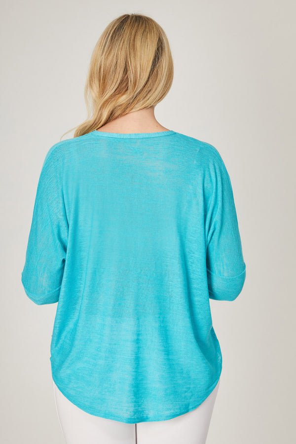 Yoga Long Sleeve Loose Top with Zip Aqua