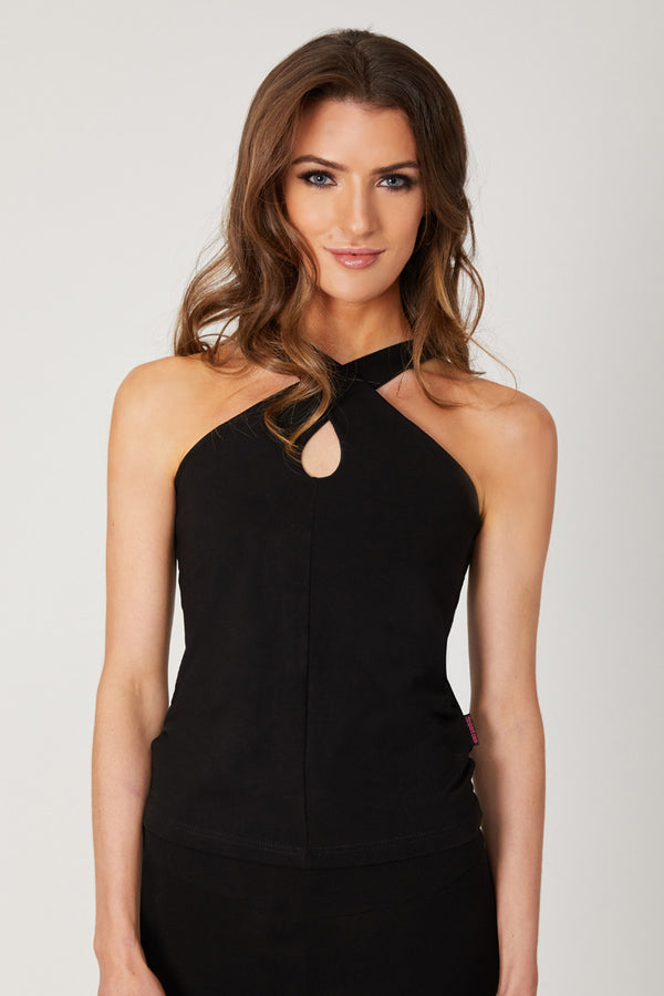 Halter Vest With Hole Front Detail Black
