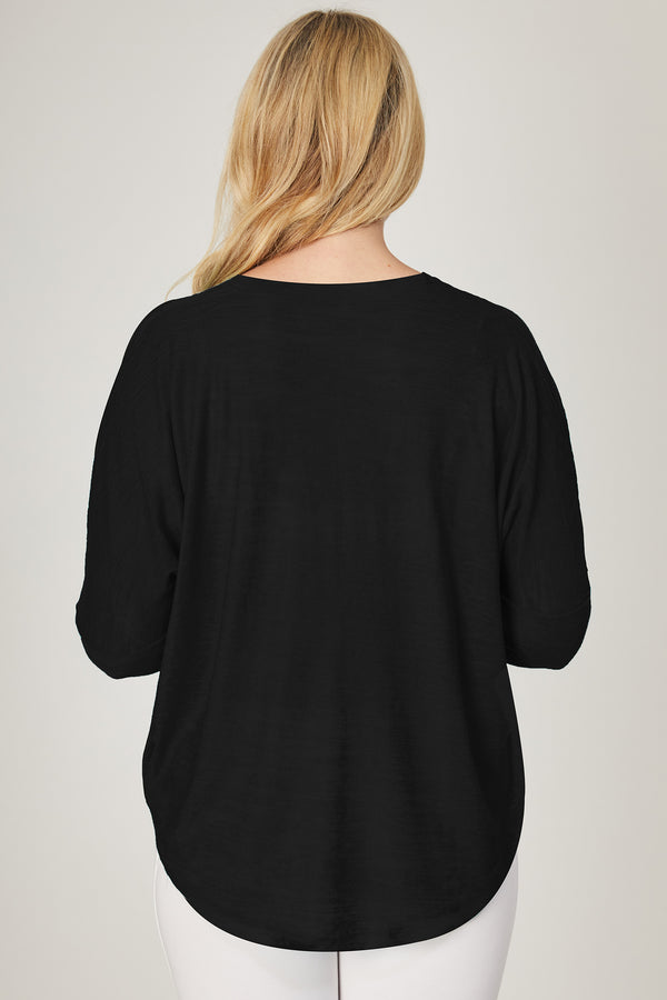 Yoga Long Sleeve Loose Top with Zip Black