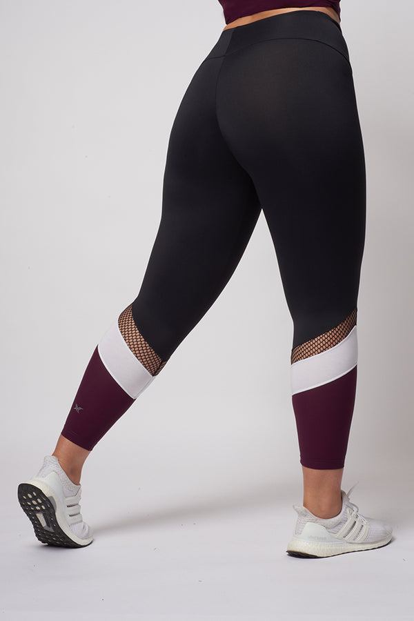Medium Compression Leggings with Burgundy Leg Panel