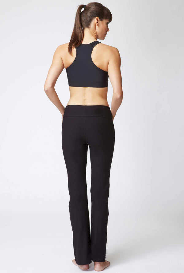 Medium Compression Bootleg with Fold Down Waist Black