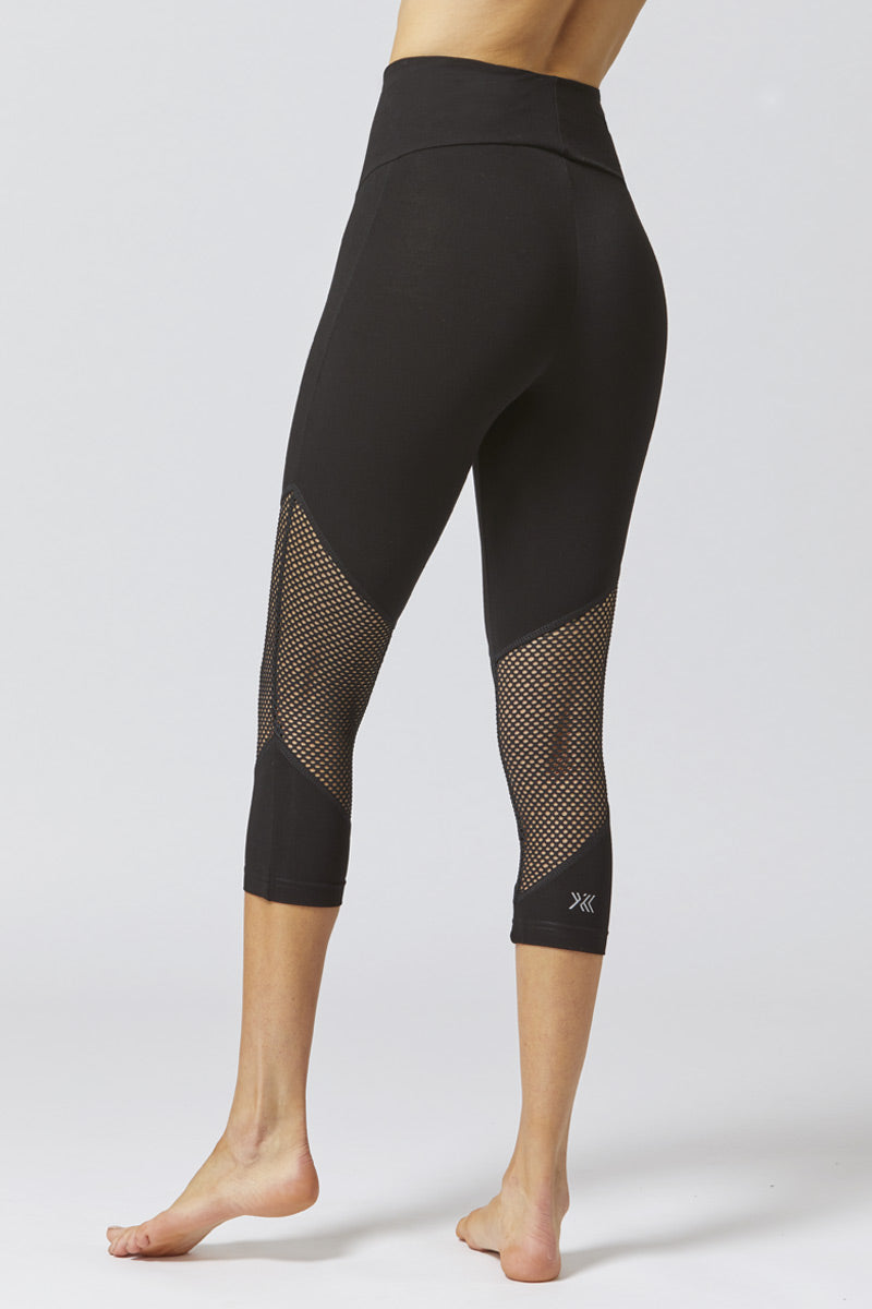 Medium Compression Cropped Leggings with CoolMesh Inset Black
