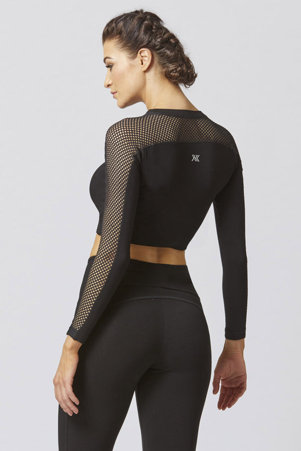 CoolMesh Long Sleeve Fitted Gym Top Black