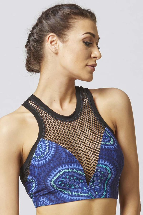 CoolMesh High Neck Aztec Print Gym Bra Blue