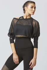 Loose CoolMesh Long Sleeve Yoga Top Black