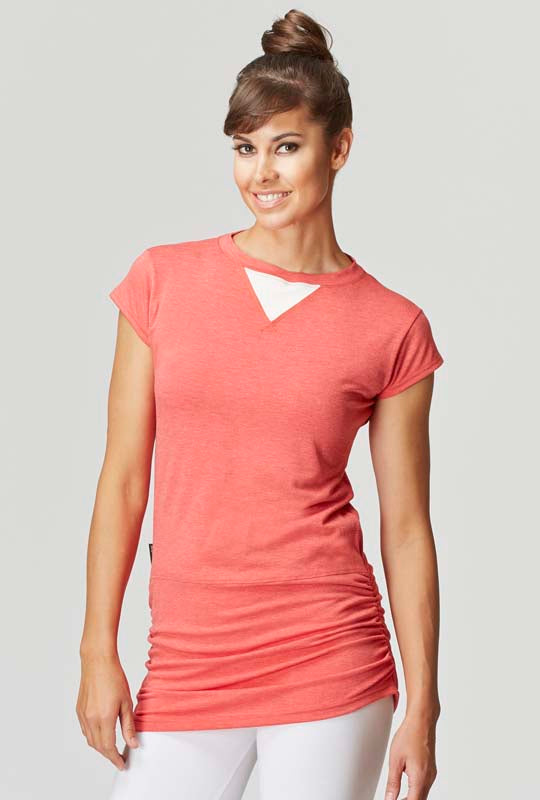 Gathered Side Ruche T-Shirt Top Orange