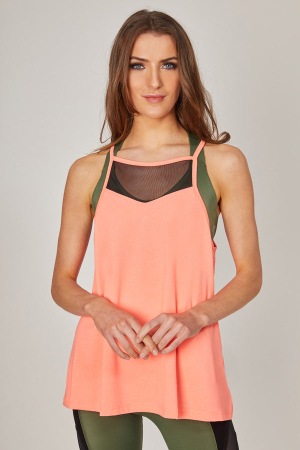 Loose Fit Sports Vest with Mesh Inset Coral