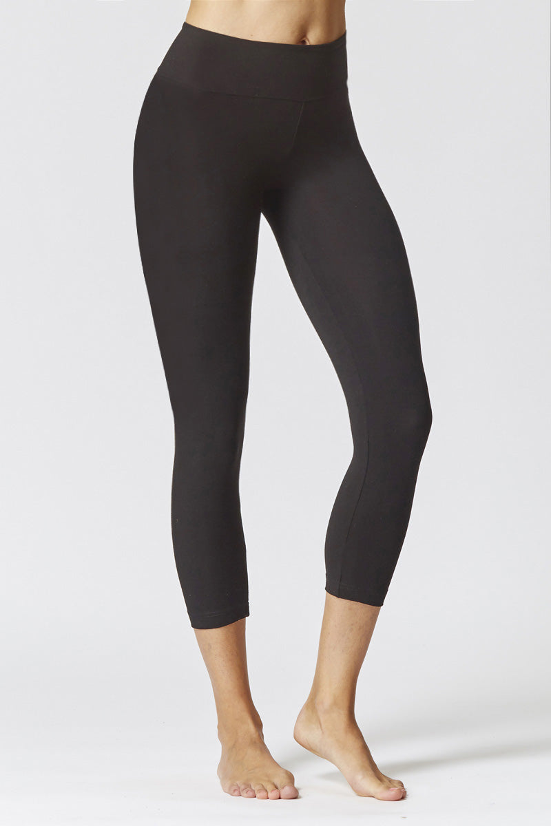 Extra Strong Compression Cropped Leggings with Egyptian Cotton Black