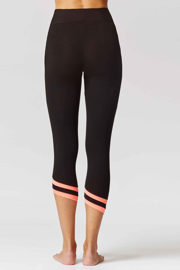 Asymmetric Sports Cropped Leggings Black-Coral