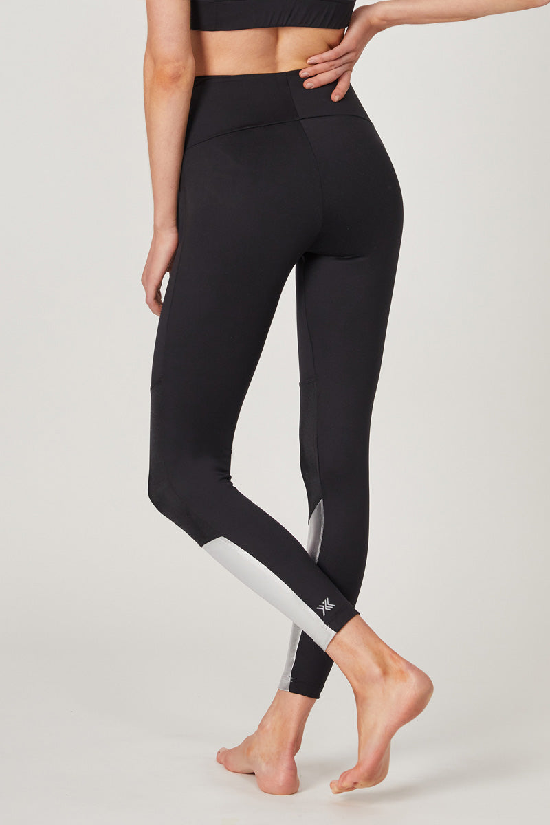 Medium Compression Leggings with Metallic Panel