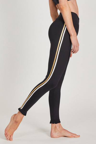Medium Compression Leggings with Side Stripes and Frill Black