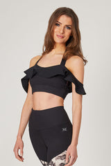 Yoga Bra with Halter Neck and Frill Strap Black