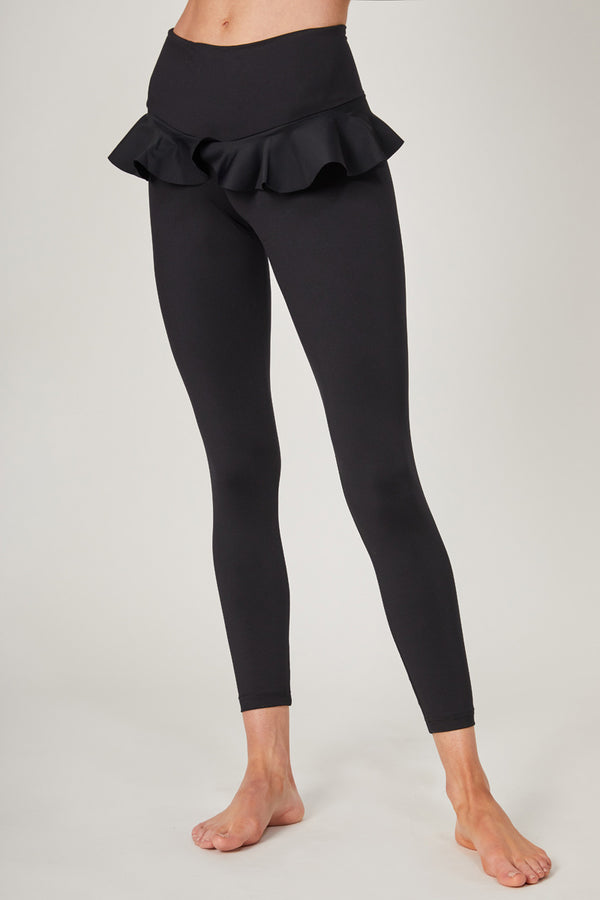 Medium Compression Leggings with Frill Hip Inset Black