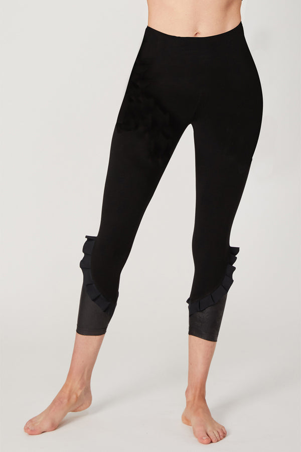 Medium Compression Cropped Leggings with Frill Side Detail Black