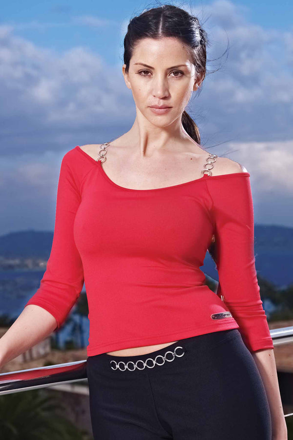 Gym Long Sleeved Shoulder Chain Strap Top Red