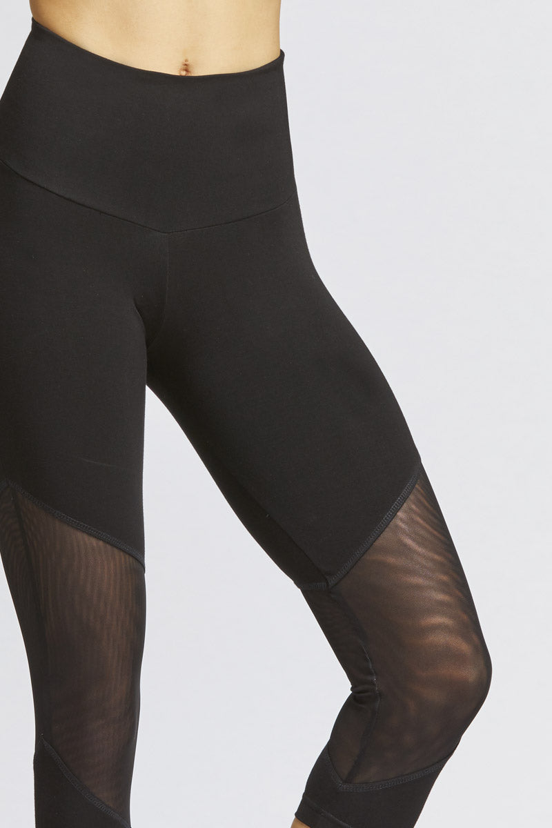 Medium Compression Cropped Leggings With Illusion Mesh Inset Black