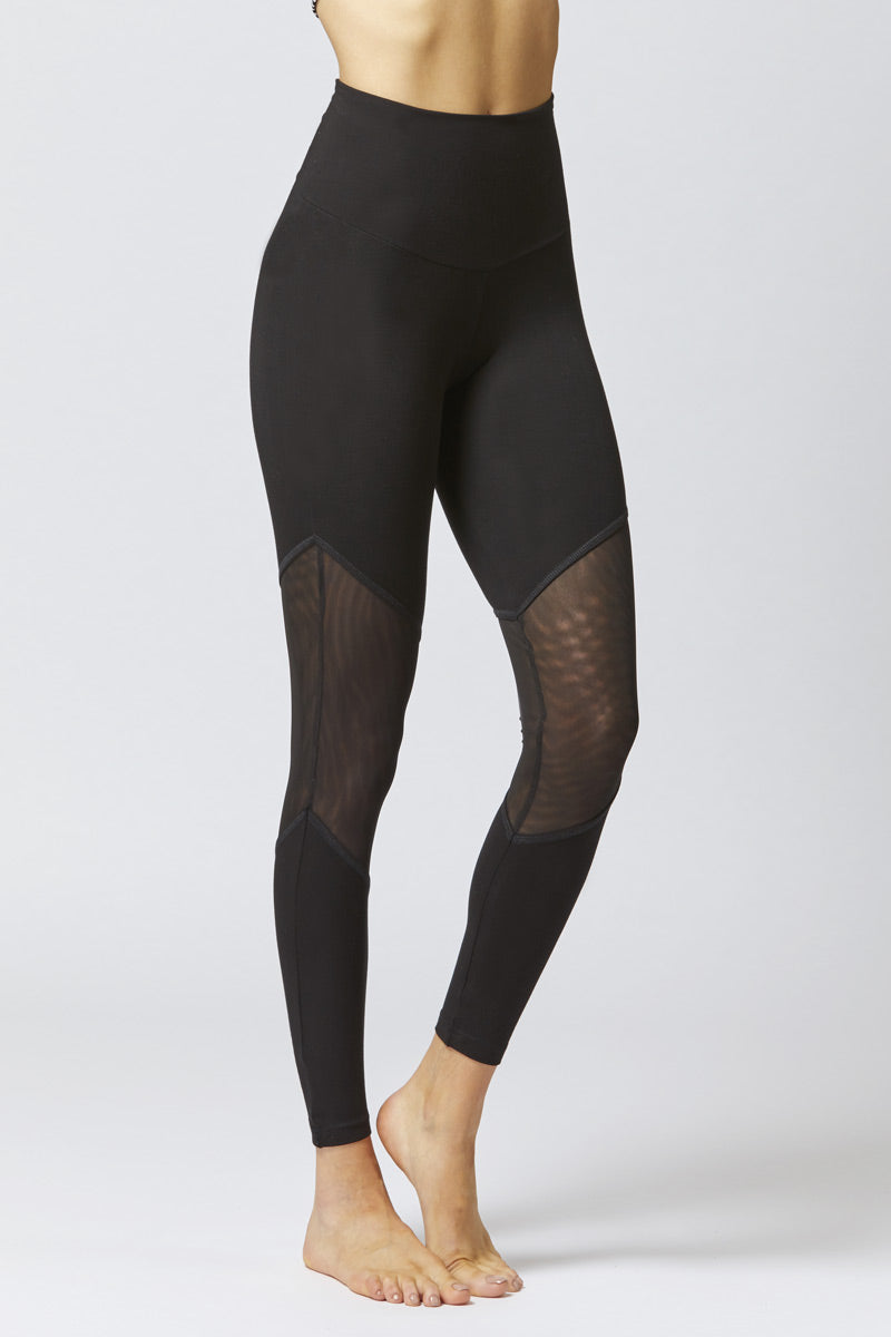 Medium Compression Leggings With Illusion Mesh Inset Black