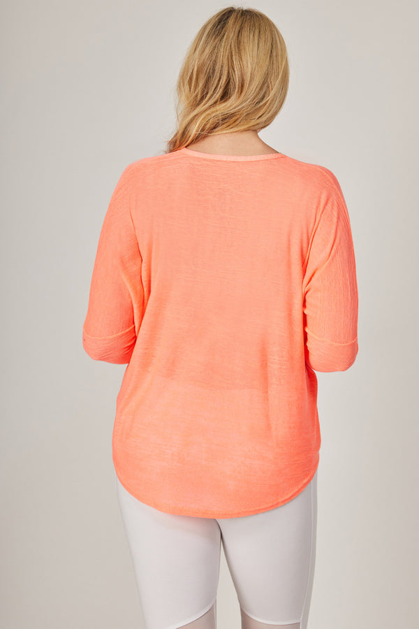 Yoga Long Sleeve Loose Top with Zip Coral