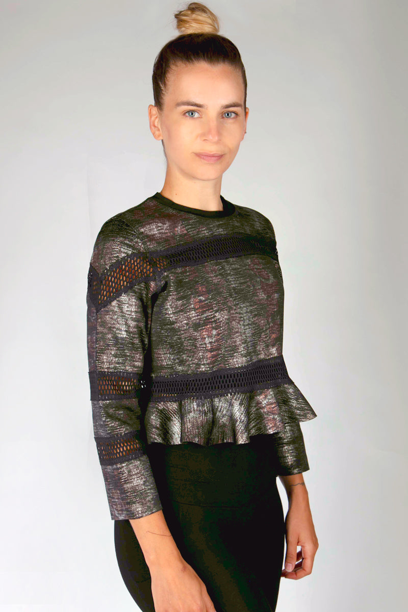 Reversible Cropped Sweatshirt with Frill Hem Grey-Snakeskin