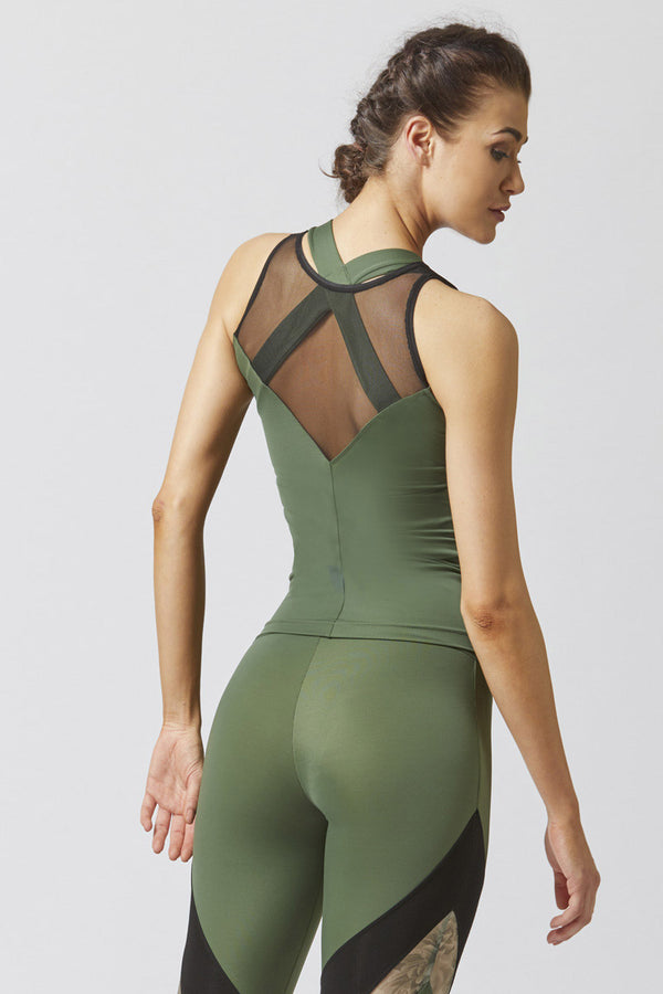 Reversible High Low Mesh Inset Workout Vest Khaki