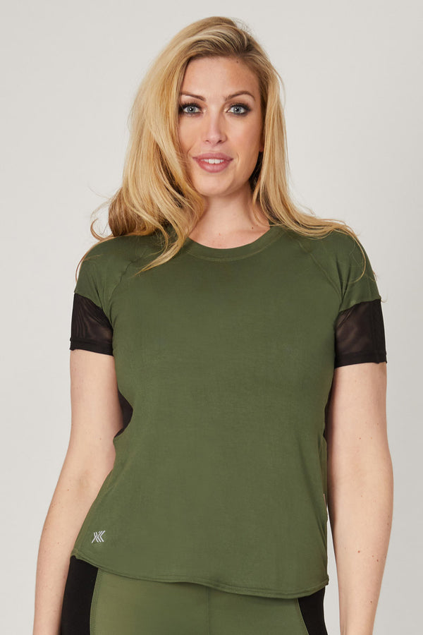 Loose Fit Gym T Shirt with Mesh Back Khaki