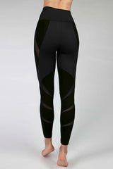Medium Compression Leggings with Daring Mesh Insets Black