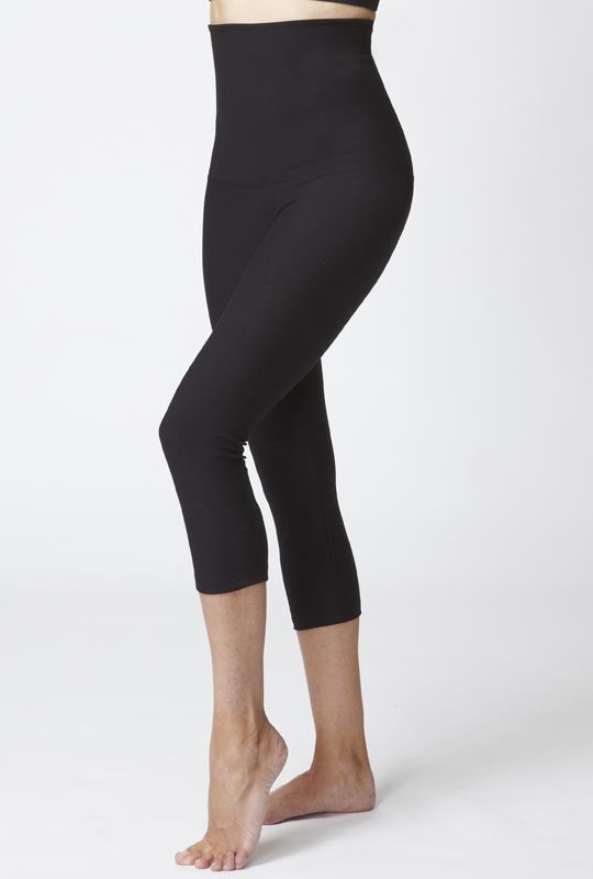 Lightweight Strong Compression Cropped Leggings with High Tummy Control Black
