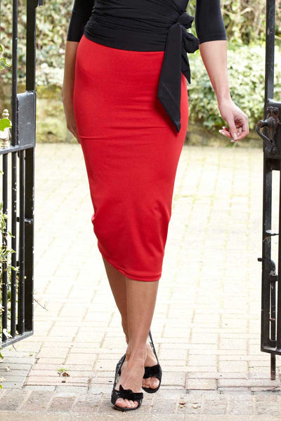 Long Length Body Control Slimming Stretch Pencil Skirt Red