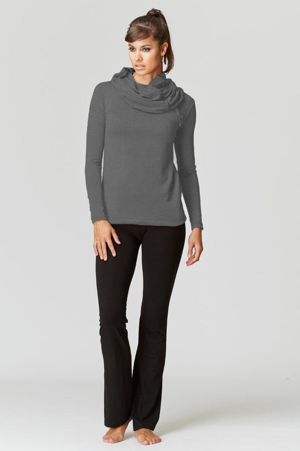 Long Sleeve Drawstring Cowl Neck Loose Yoga Top Grey