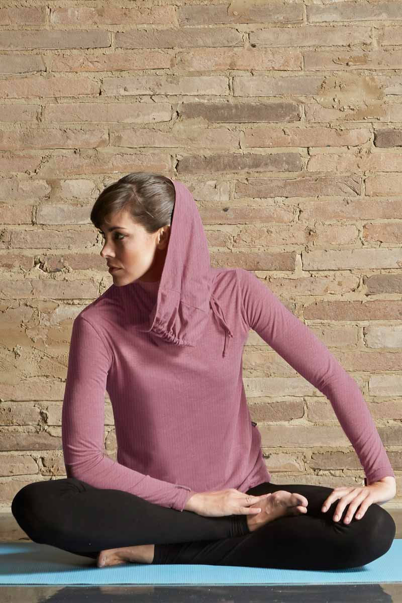 Long Sleeve Drawstring Cowl Neck Loose Yoga Top Purple
