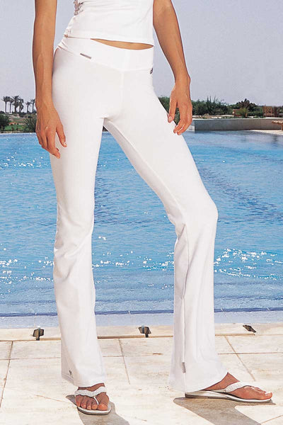 Low Rise Fitted Gym Boot Cut Bottoms White