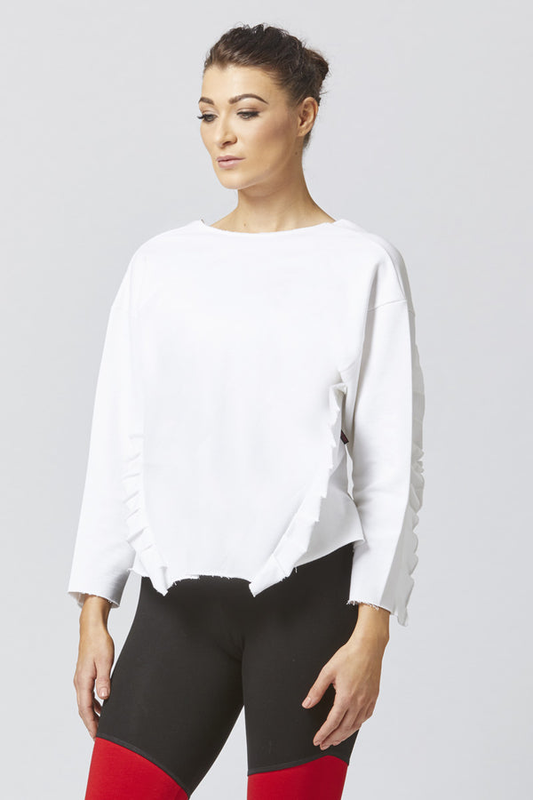 Luxe Frill Detail Sweatshirt White