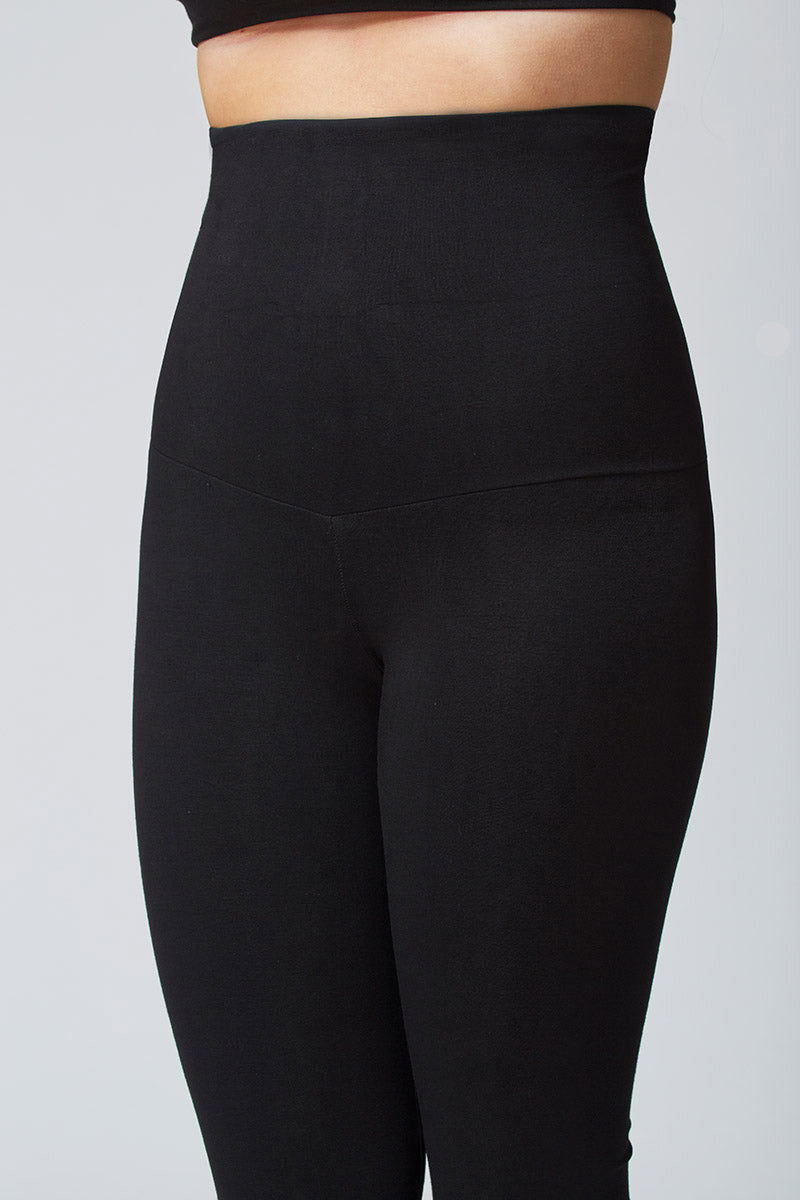 Extra Strong Compression Cropped Leggings with High Tummy Control Black