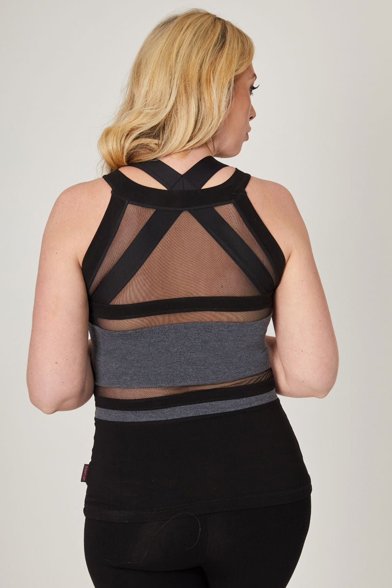 Yoga Vest with Mesh Stripes and High Neck Marl Grey