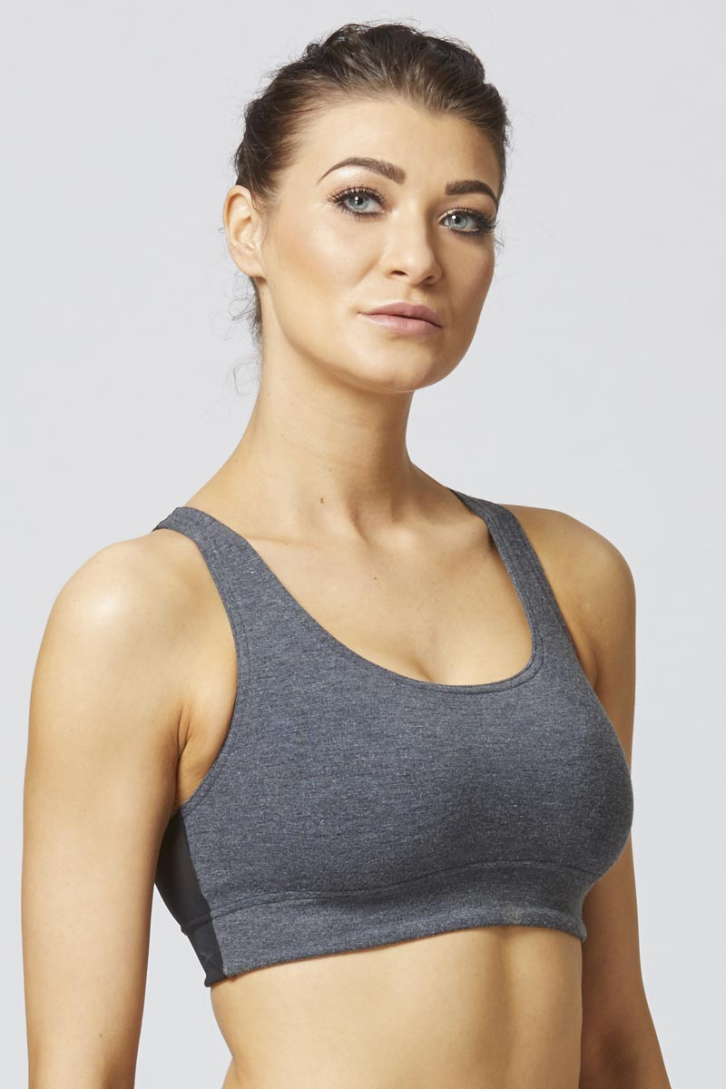 Support Mesh V Back Gym Bra Marl Grey