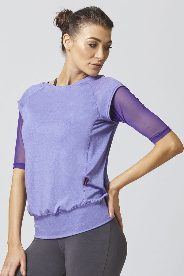 Reversible Mesh Inset Yoga Tee Purple