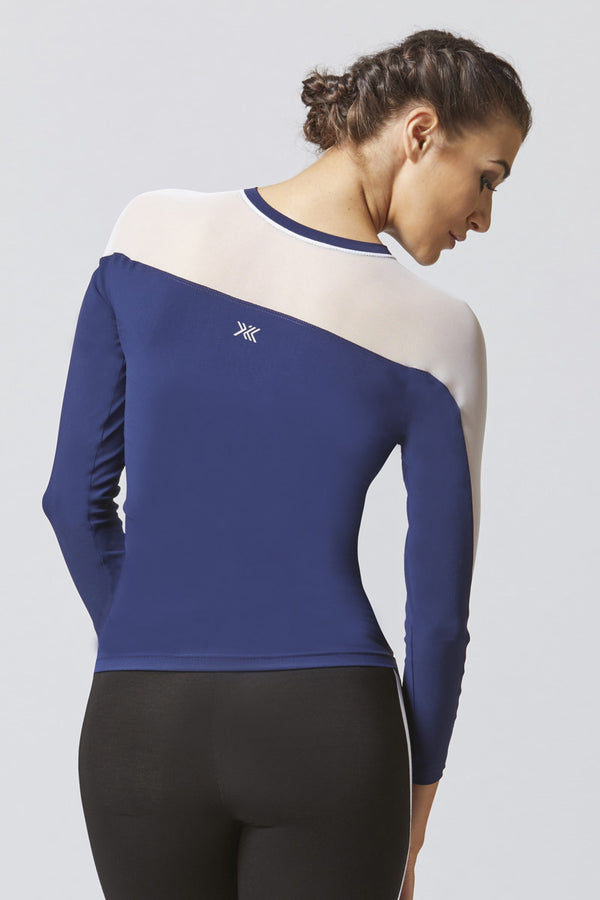 Mesh Upper Long Sleeve Gym Top Navy